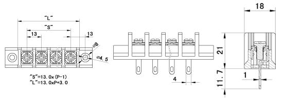 LW系列栅栏式型号说明: 栅栏式型号代码为LW;中间针位代码为C;旁边针位代码为B;带固定位代码为M;弯针型代码为R;焊线型代码为Q;LW栅栏式产品结构简单,板式压线方式,直观,牢固;线径范围:0.5m-6m; LW1MQ-13.0结构简图:  参数介绍:
